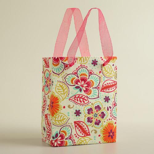 Small White Hippy Print Handmade Gift Bag
