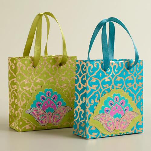 Mini Maria Paisley Die-Cut Handmade Gift Bags, Set of 2