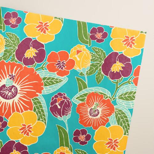 Turquoise Floral Handmade Gift Wrap