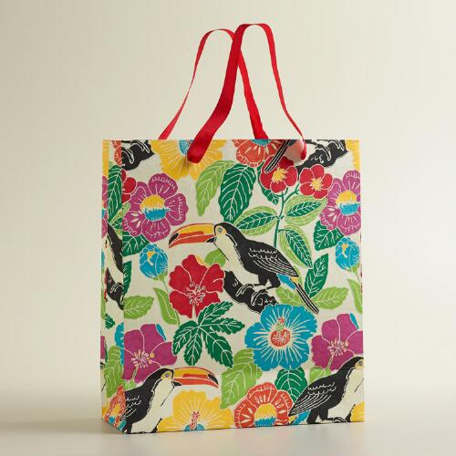 Extra-Large White Toucan Print Handmade Gift Bag