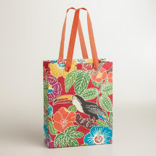 Large Red Toucan Handmade Gift Bag