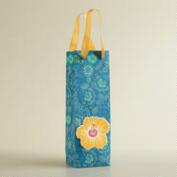 Blue Hippy Print with Die-Cut Flower Handmade Wine Bag