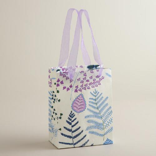 Small White Lakeside Leaves Handmade Gift Bag