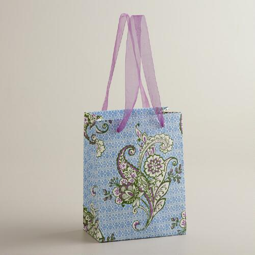 Small Blue Esti Floral Handmade Gift Bag