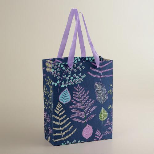 Large Purple Lakeside Leaves Handmade Gift Bag
