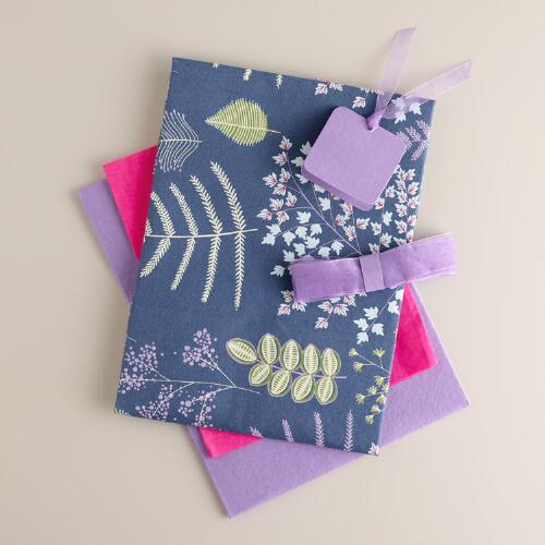 Purple Lakeside Leaves Fabric Gift Box Kit