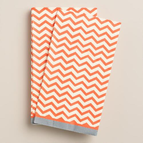Orange Chevron Guest Napkins, 20-Count