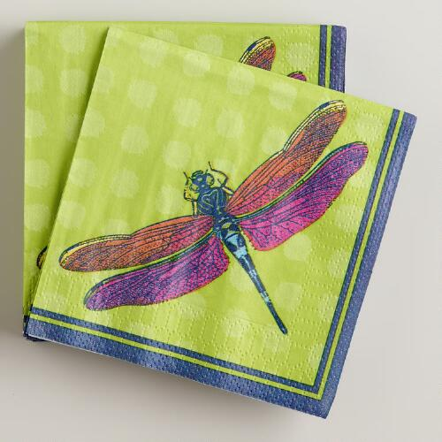 Turquoise Dragonfly Beverage Napkins, 20-Count