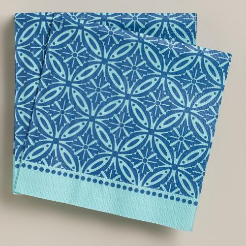 Blue Geo Beverage Napkins, 20-Count
