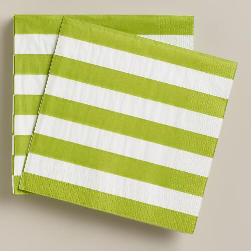 Green Apple and White Stripe Beverage Napkins, 20-Count