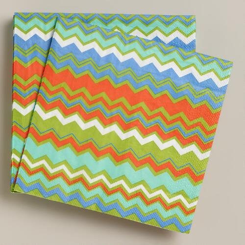 Zigzag Stripe Lunch Napkins, 20-Count