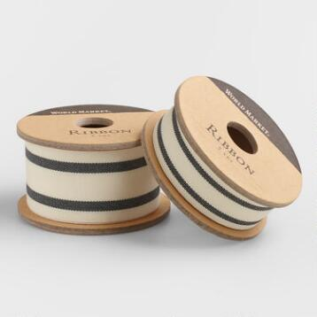 Black Ticking Stripe Woven Ribbon