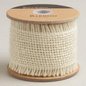 Cream Fringed Burlap Ribbon