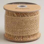 Brown Fringed Burlap Ribbon