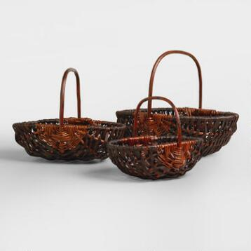 Brown Oval Jackie Baskets