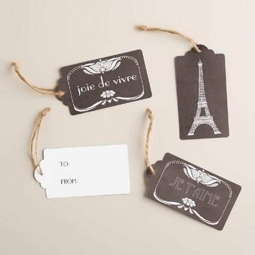 Black and White Parisian Kraft Gift Tags, Set of 3