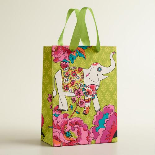 Large White Elephant Handmade Gift Bag