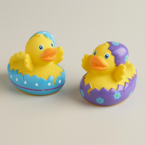 Hatching Polka Dot Easter Egg Rubber Ducks, Set of 2