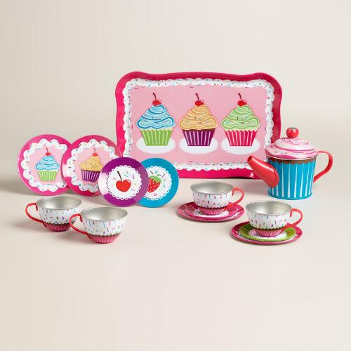 Tin Cupcake Tea Set