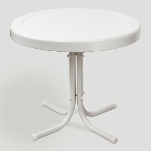 White Durresi Metal Side Table