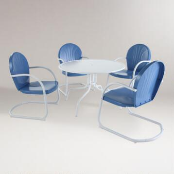Blue Durresi Metal Dining Set, 5-Piece