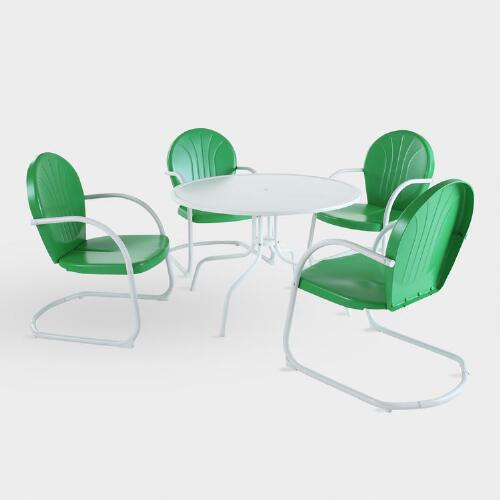 Green Durresi Metal Dining Set, 5-Piece
