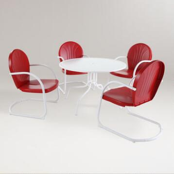 Red Durresi Metal Dining Set, 5-Piece