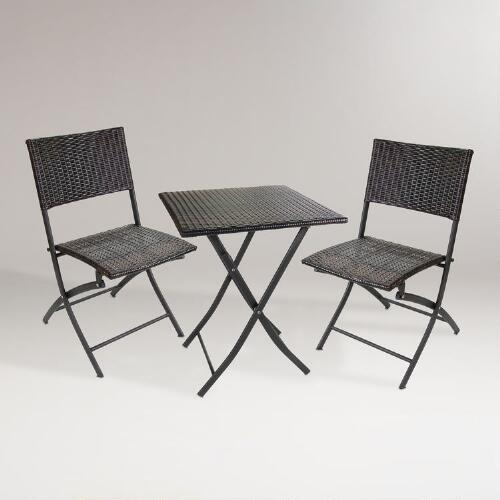 Square Borshi All-Weather Wicker Bistro Set, 3-Piece