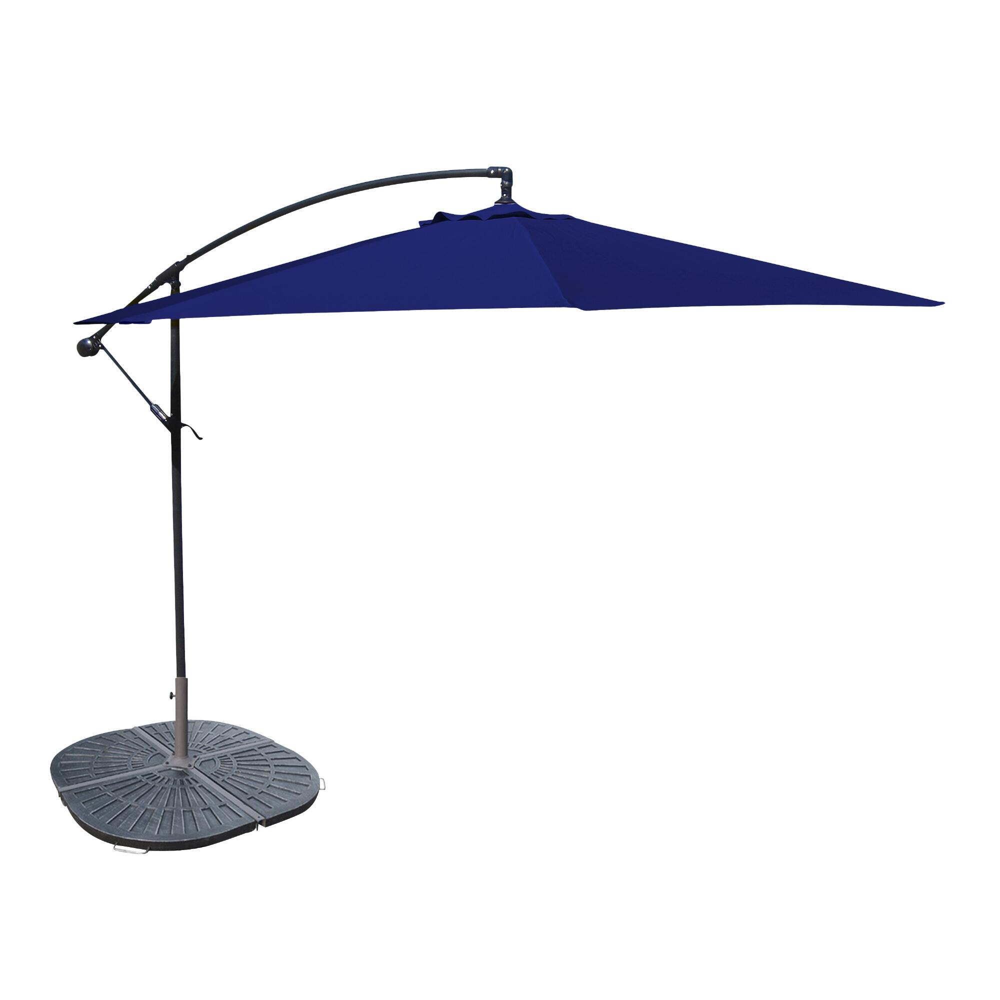 10 Navy Cantilever Umbrella And Weight Base World Market