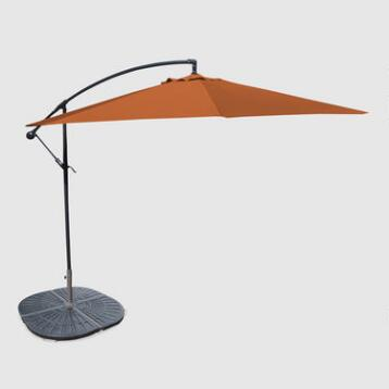 10' Orange Cantilever Umbrella and Weight Base