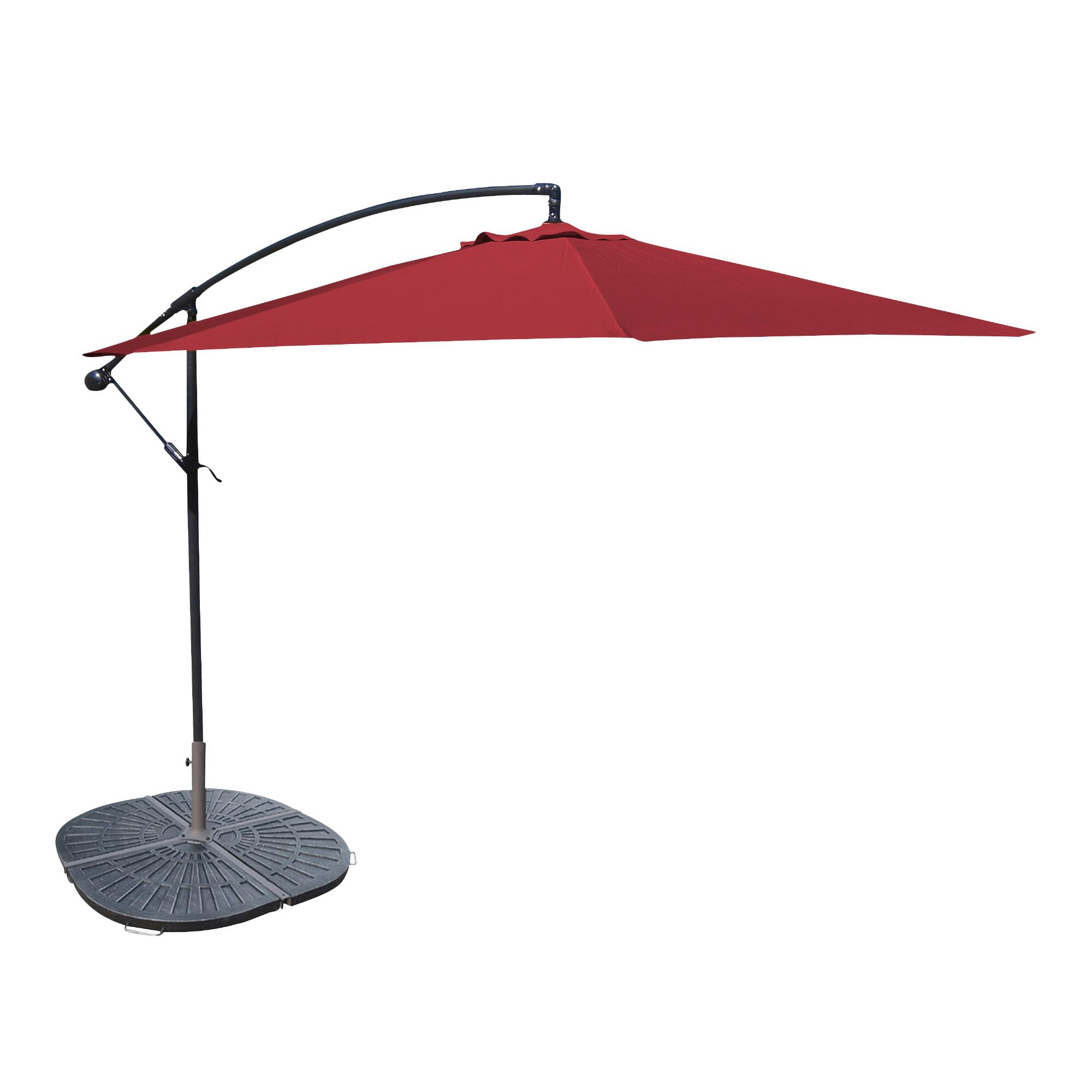 Umbrella Stand Next: 10' Red Cantilever Umbrella And Weight Base