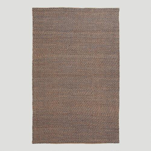 Gray Diamond Flat-Woven Jute Blend Rug