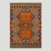 Tan and Teal Kilim Flat-Woven Wool Rug