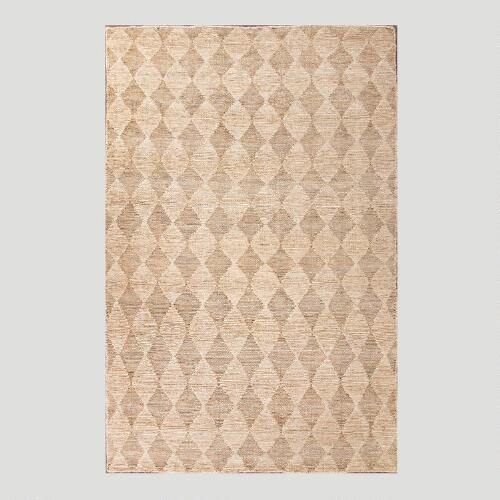 Natural Diamond Flat-Woven Hemp Rug