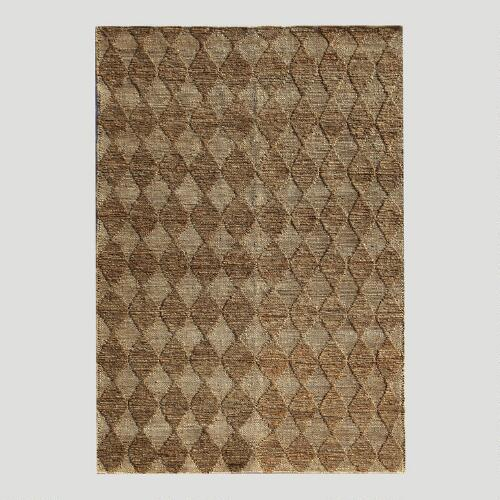 Tan Diamond Flat-Woven Hemp Rug