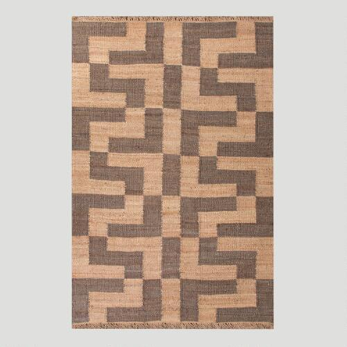 Gray Block Pattern Flat-Woven Hemp Rug