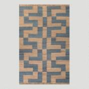 Blue Block Pattern Flat-Woven Hemp Rug