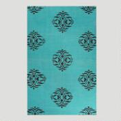 Aqua and Black Medallion Flat-Woven Wool Rug