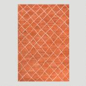 Rust Diamond Tufted Wool Rug