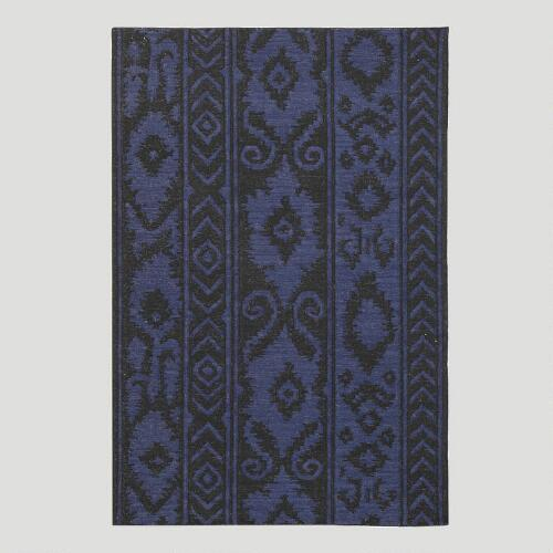 Blue and Black Lucine Flat-Woven Wool Rug