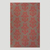Gray and Red Filigree Flat-Woven Wool Rug