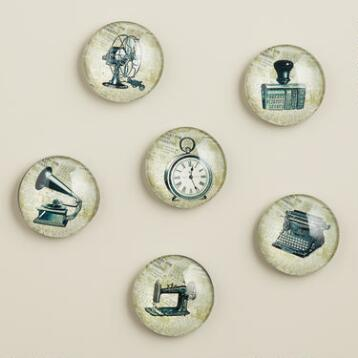Vintage Newsprint Magnets, 6-Pack