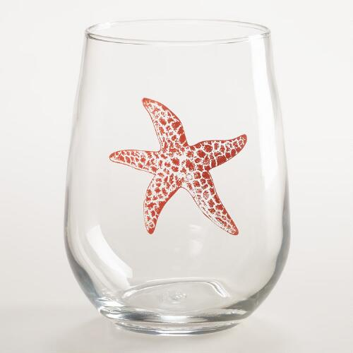 Sea Life Stemless Wine Glasses, Set of 2