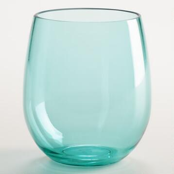 Aqua Acrylic Stemless Wine Glasses, Set of 4