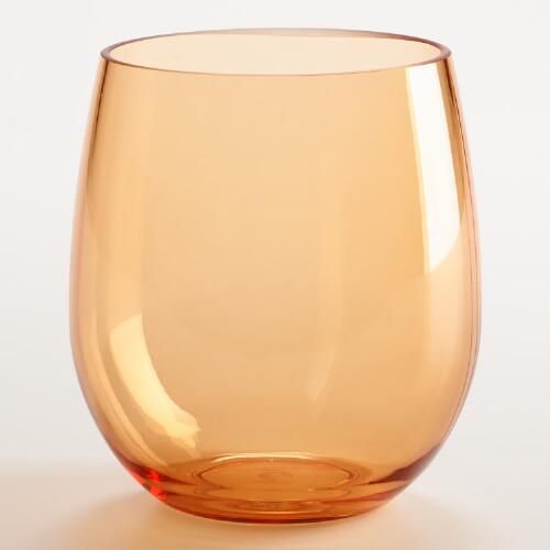 Orange Acrylic Stemless Wine Glasses, Set of 4