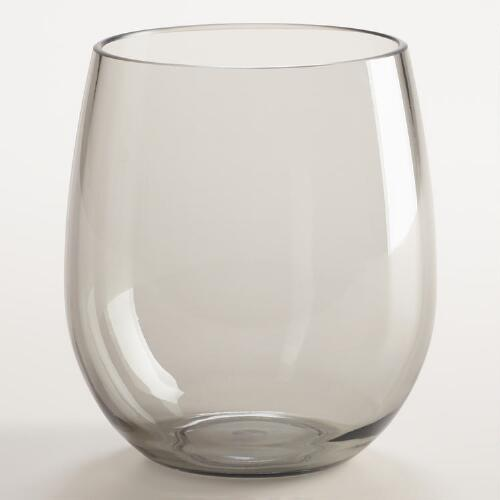 Gray Acrylic Stemless Wine Glasses, Set of 4