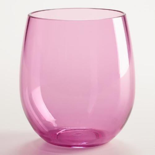 Pink Acrylic Stemless Wine Glasses, Set of 4