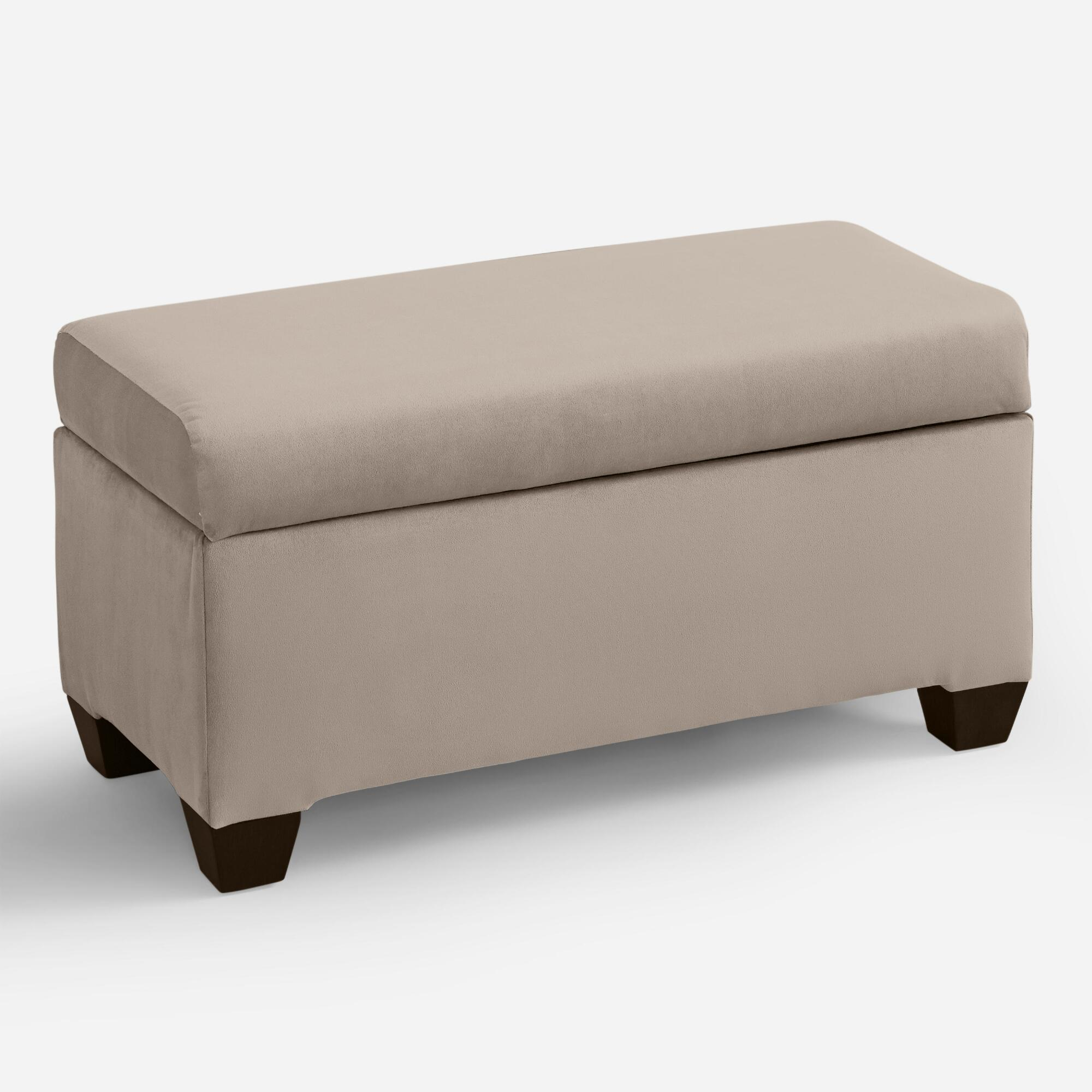 Velvet pembroke upholstered storage bench world market Velvet storage bench