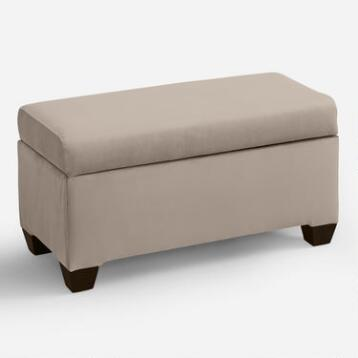 Velvet Pembroke Upholstered Storage Bench