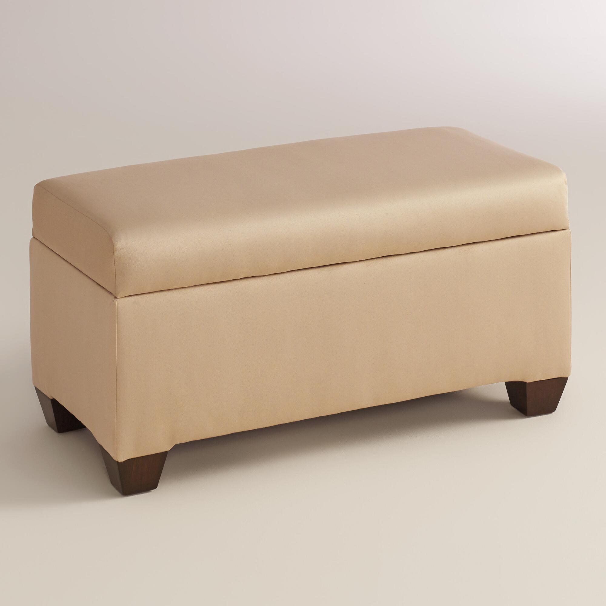 Micro Suede Pembroke Upholstered Storage Bench World Market